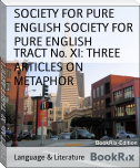 TRACT No. XI: THREE ARTICLES ON METAPHOR